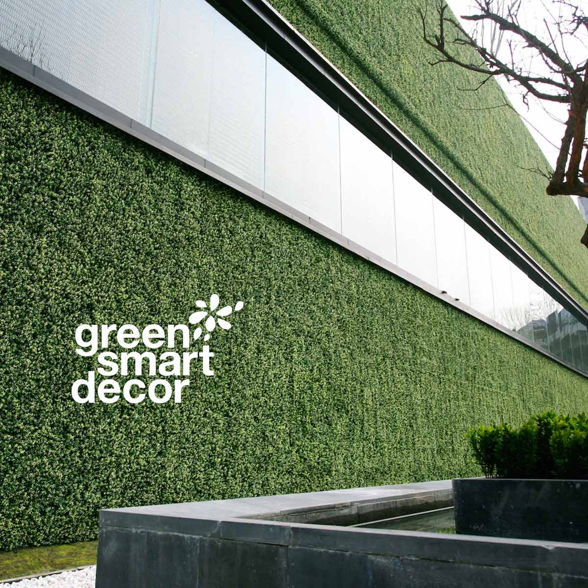 Greensmart Decor signature over green wall