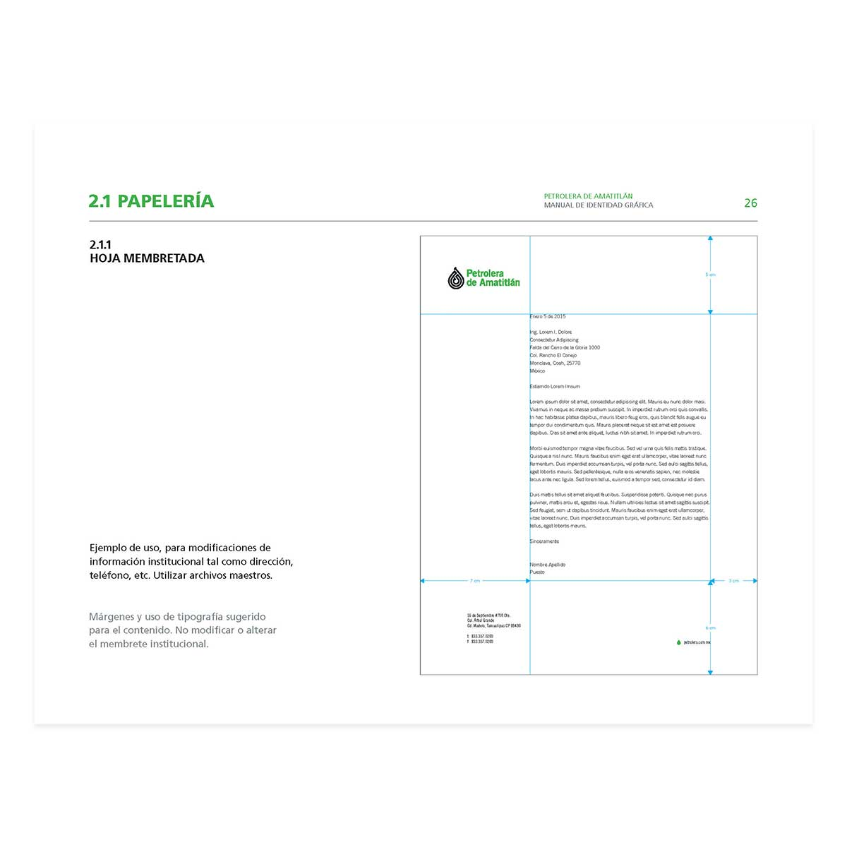 letterhead diagram in band guidelines