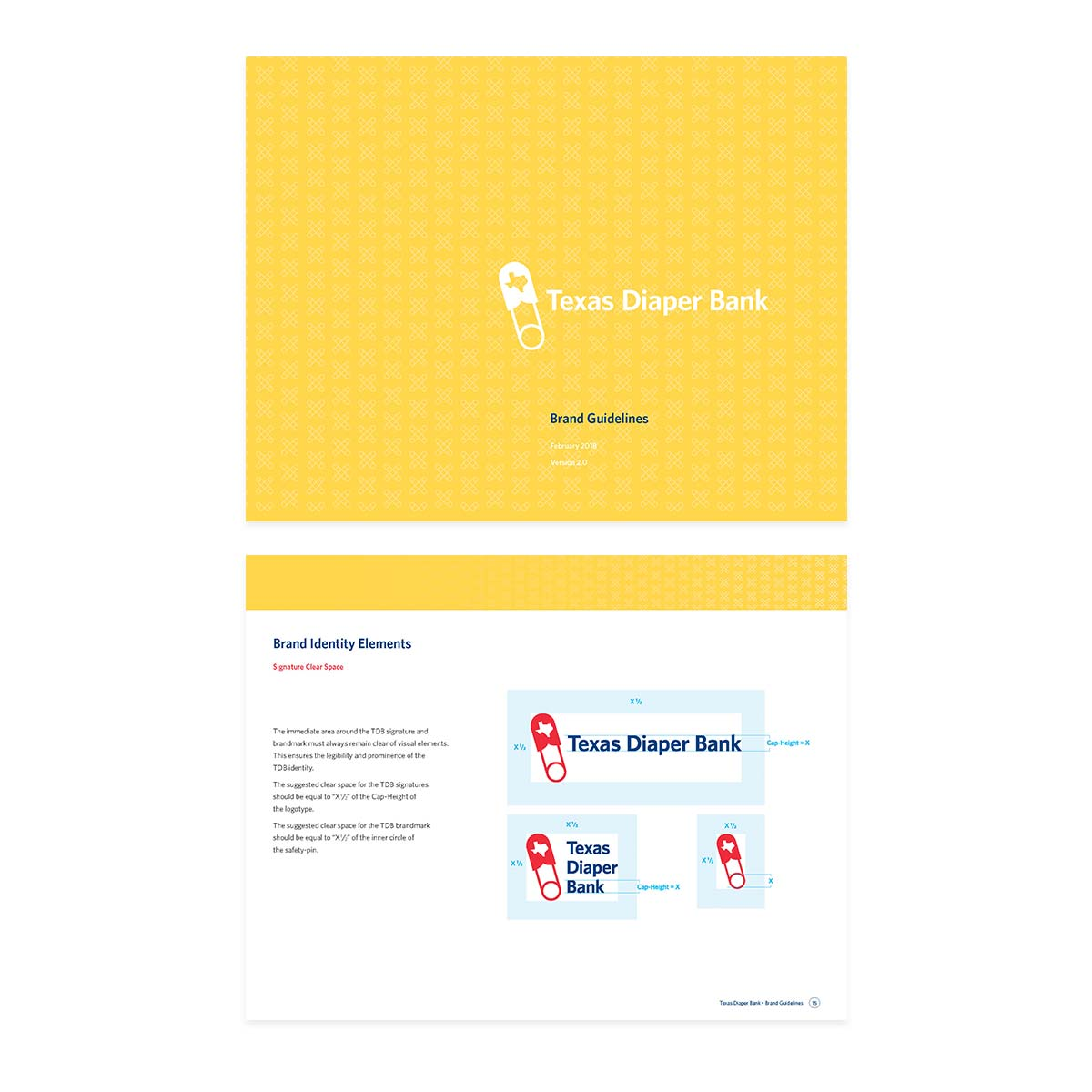 Two pages from the brand guidelines