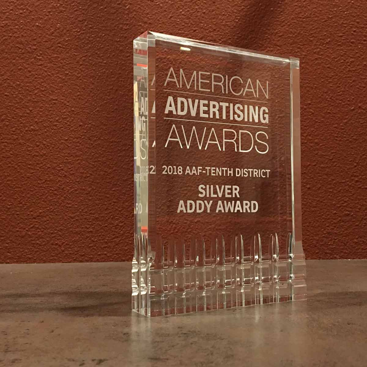 AAF District 10 Silver Addy Award plaque